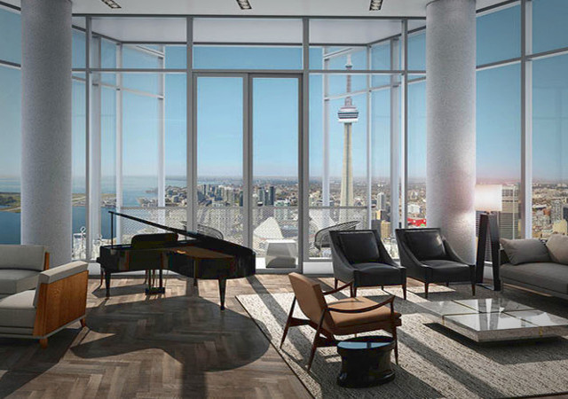 Living room and view in a Ten York unit